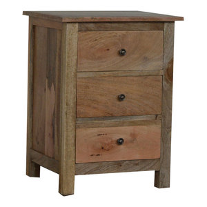 3 Drawer Natural Rustic Solid Wood Bedside Table