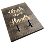 DaRosa Creations - Hand Towel Holder - This hand or tea towel holder is made of pine wood. The pine is stained dark brown and there are two black T knobs to hang your towels. Perfect to use in a kitchen or bathroom.