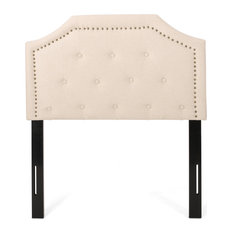 Monterey Contemporary Upholstered Twin Headboard Beige + Black