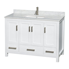 "Single Vanity, White, 48"", White Carrera Marble, Sink: Undermount Square"