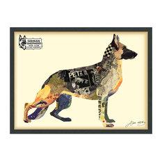 German Shepherd Dog Dimensional Handmade Collage Wall Art Framed Under Glass