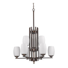 Sophia 9-Light 2-Tier Chandelier Oil Rubbed Bronze Opal White Glass