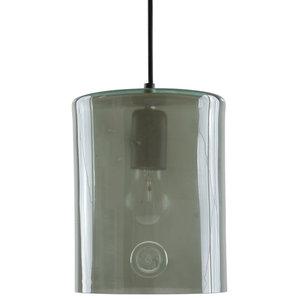 Wide Glass Cylinder Pendant Light, Grey