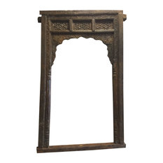 Mogulinterior - Consigned Floral Welcome Gate Arch, Hand-Carved - Molding And Millwork