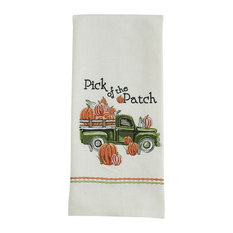 Park Designs - Pick of the Pumpkin Patch Green Pickup Truck Embroidered Kitchen Dish Towel - Dish Towels