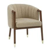 Wooden Channel Back Chair in Beige
