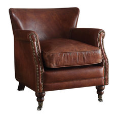 Acme Furniture - Acme Leeds Accent Chair, Vintage Dark Brown TG Leather - Armchairs and Accent Chairs