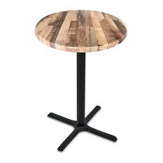 """36"""" Black Table With 36"""" Diameter Indoor/Outdoor Rustic Top"""