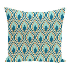 "Candlelight Geometric Print Outdoor Pillow, Teal, 18""x18"""