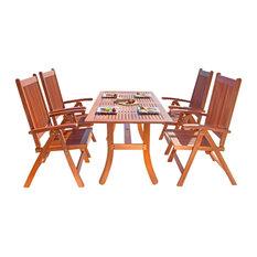 Malibu Eco-Friendly 5-Piece Wood Outdoor Dining Set