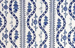 Nanking Stripe Wallpaper, Porcelain Blue on White