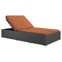 Outdoor Double Chaise, Chocolate and Tuscan