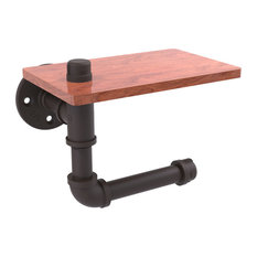 Pipeline Collection Toilet Paper Holder With Wood Shelf