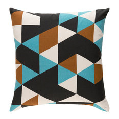 Surya Modern Cotton Teal and Camel and Black Accent Pillow, 18  x18
