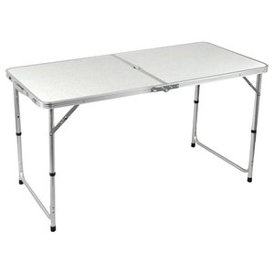 Folding Table, Aluminium With White Top and Adjustable Legs, Portable Design