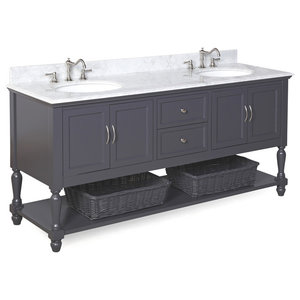 "Beverly 72"" Double Bath Vanity With Carrara Top, Charcoal Gray"