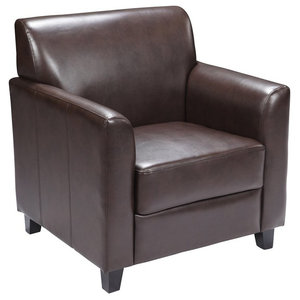 Radisson Brown Leather Office Chair With Flared Arms