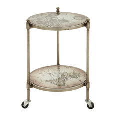 Benzara, Woodland Imprts, The Urban Port   Appealing Metal Glass Accent  Table   Side