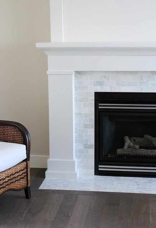 new fireplace tile carrara marble