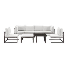 Modern Urban Contemporary Outdoor Patio Sectional Sofa Set, Brown White Fabric