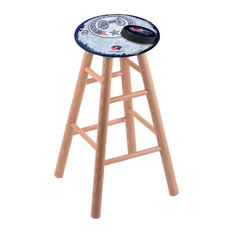 Oak Bar Stool Natural Finish With Columbus Blue Jackets Seat 30-inch