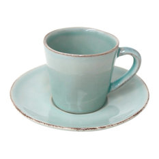 Nova Coffee Cups and Saucers, Turquoise, Set of 6