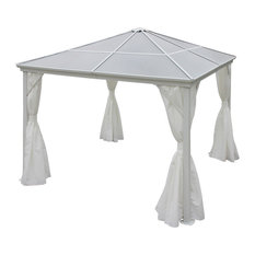 GDF Studio Bali Outdoor 10'x10' Aluminum Framed Gazebo With Curtains, White/Whit