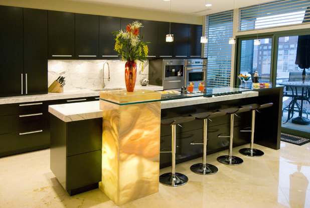 Great material illuminated onyx for Black onyx kitchen cabinets