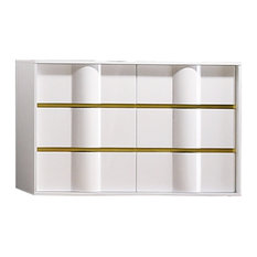 Havana White With Gold Trimming 6 Drawer Dresser