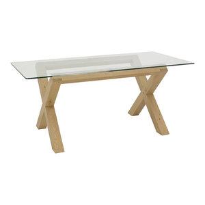Panama Light Oak 6-Seater Glass Top Table