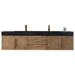 "Mercer Island 72"" Double Vanity Latte Oak Radiant Gold, Cabinet Only(no Top)"