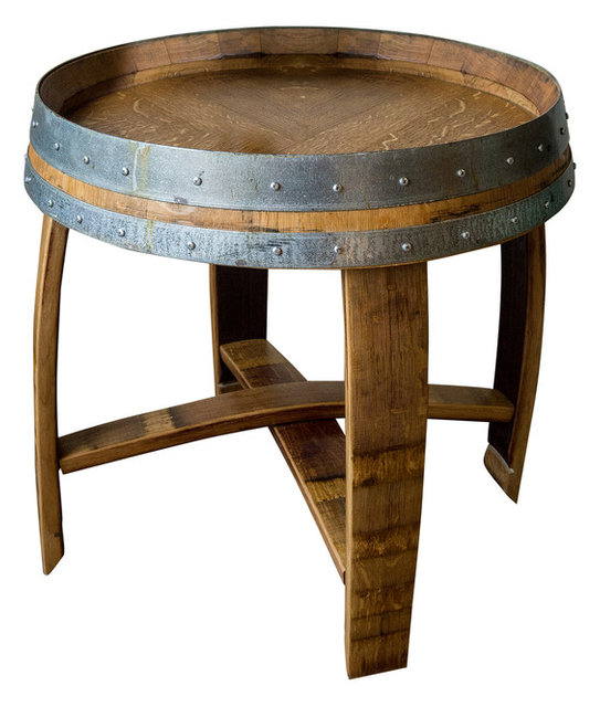 Banded Wine Barrel Side Table With Cross Braces Golden Oak Finish