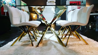 Cross Dining Table & Chairs - Gold
