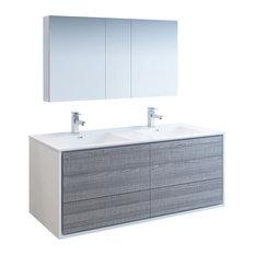 Catania 60-inch Ash Gray Double Sink Vanity Set Fiora Faucet/Chrome