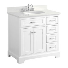 "Kitchen Bath Collection - Aria Bath Vanity, Base: White, 36"", Top: Quartz - Bathroom Vanities and Sink Consoles"