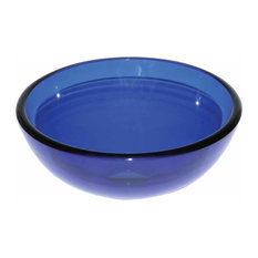 Tempered Glass Vessel Sink Blue with Drain and Mounting Ring