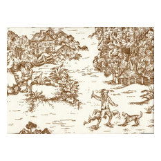 """Round Tablecloth French Country Toile Suede Brown, 90"""""""