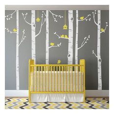 Birch Tree with Bird Wall Decals, Scheme C, Standard