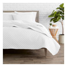 Bare Home Diamond Stitched Coverlet Set, Cool White, Twin/Twin Xl