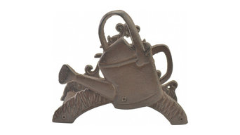 "Cast Iron Garden Hose Holder, Watering Can Design, 7.625"" Tall"