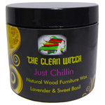 The Clean Witch - Just Chillin Natural Wood Furniture Wax, Lavender Sweet Basil - Wood furniture polish and protection wax.  It will remind you of a walk in a field of lavender with its  Lavender & Sweet Basil scent derived entirely from essential oils.  A natural shine that protects the wood. Goes on transparent so it can be used on chalk paint as well.  Always a smooth operation, no clumping.  This is our best seller.