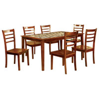 7-Piece Wooden Dining Table Set With Marble Top In Oak Brown