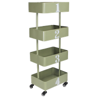 4-Tier Numerical Metal Caster Cart, Gray and White