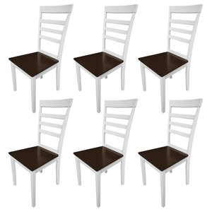 vidaXL Set of 6 Brown White Solid Wood Dining Chairs