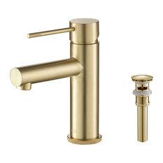 Circular X Brass Single Hole Bathroom Faucet KBF1010, Brush Gold, With Drain