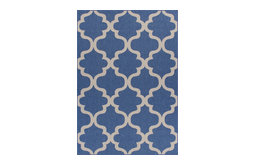 Rug and Decor, Canyon Indoor/Outdoor Weather-Proof Blue Trellis, Rug, 8'x10'