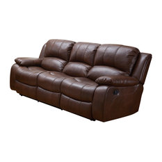 Betsy Furniture Bonded Leather Reclining Sofa Brown