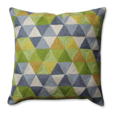 """Pillow Perfect Triangle Grid Throw Pillow, Green Gray, 16.5"""""""
