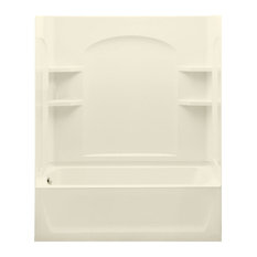 """Sterling  Ensemble 74""""x32""""x60"""" Vikrell Tub/Shower, Biscuit"""