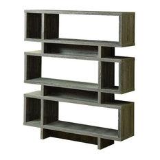 """Bookcase, 55""""H, Dark Taupe Modern Style"""